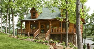 Lake front log home builder